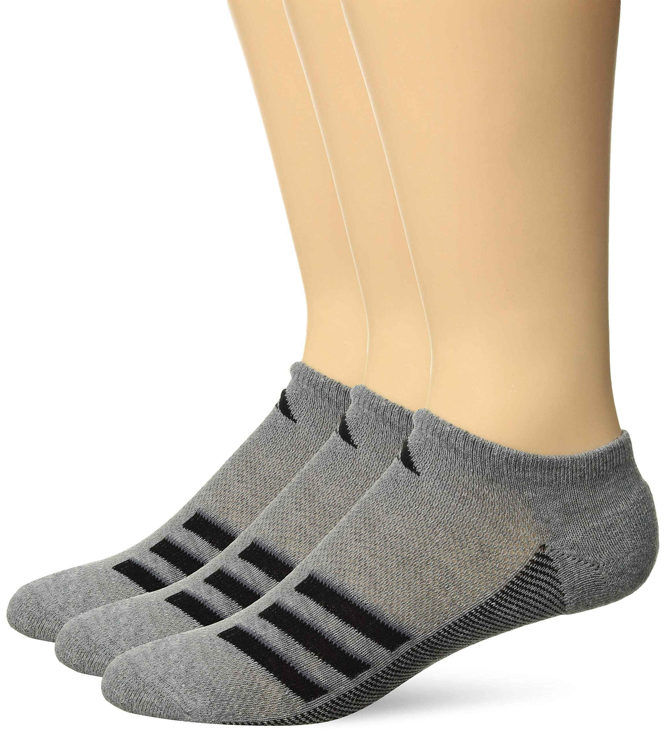 adidas Men's Climacool Superlite No Show Socks (3-Pack), Core Heather/Black/Onix, Size 6-12