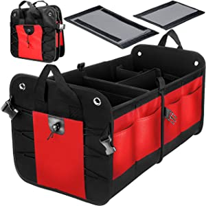 VViViD Heavy-Duty Multi-Compartment Collapsible Nylon Car Trunk Storage Organizer Bin