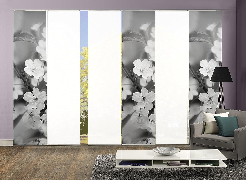 6er-Set Flächenvorhang, Deko blickdicht, MARION, Höhe 245 cm, 3x Dessin grau   3x uni weiß blickdicht