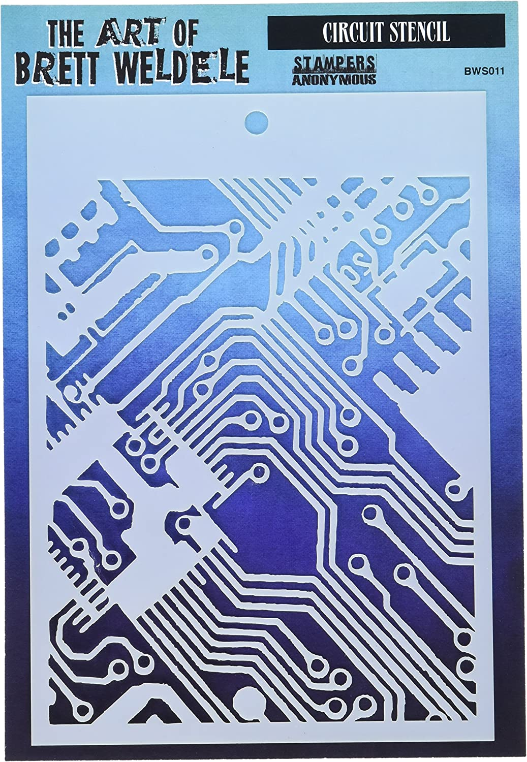 """Stampers Anonymous BWS011 Circuit Brett Weldele Stencils 6.5/"""" by 4.5/"""""""