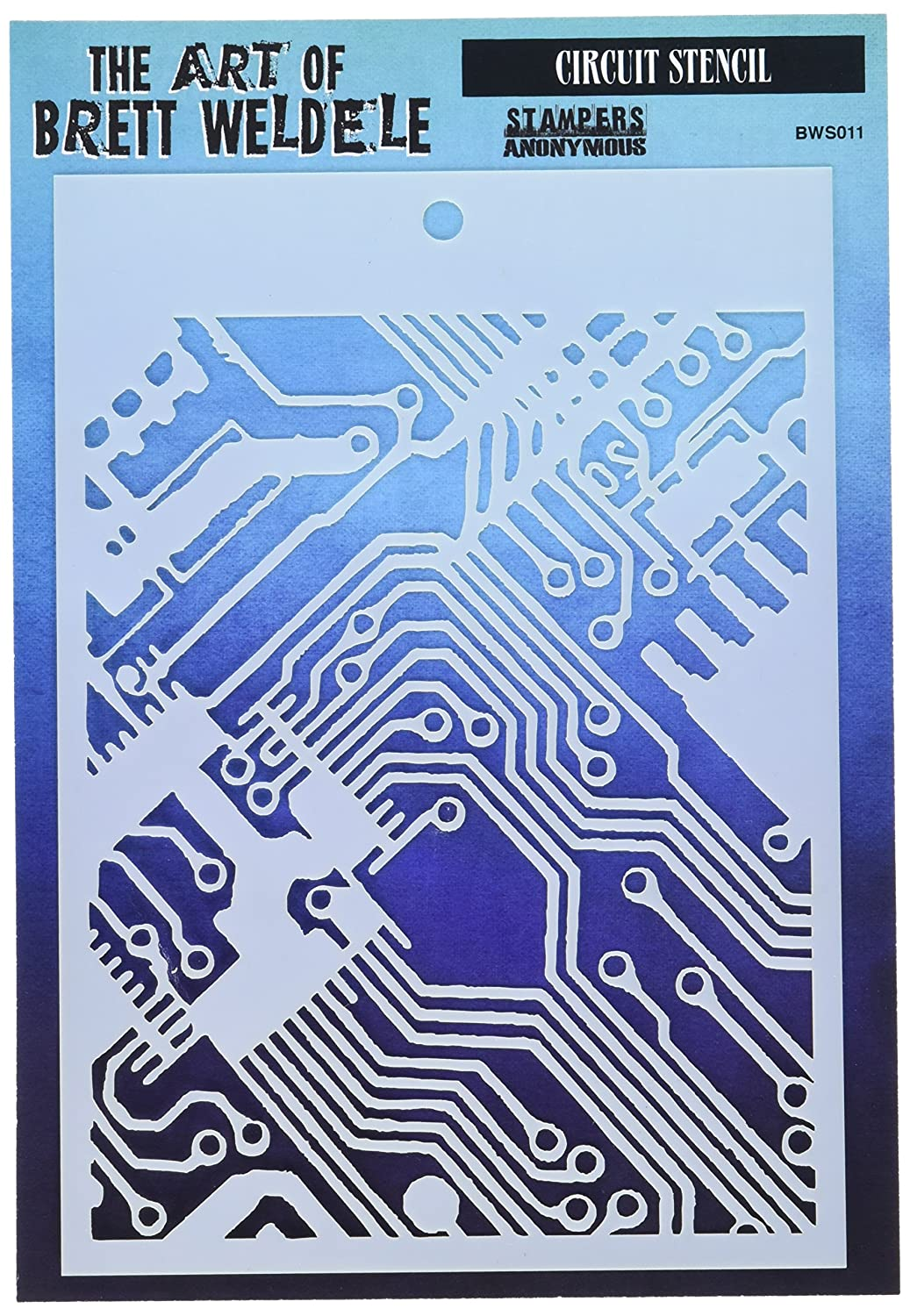 Multicoloured Acrylic Stampers Anonymous Brett Wedeled Stencils 6.5 x 4.5-inch Circuit 0.1 x 5.65 x 8.9 cm