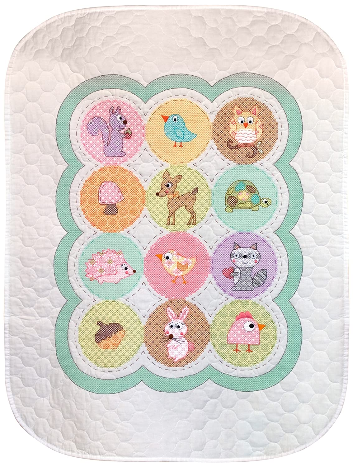 Dimensions Needlecrafts Stamped Cross Stitch, Happi Woodland Quilt EKS 70-73559
