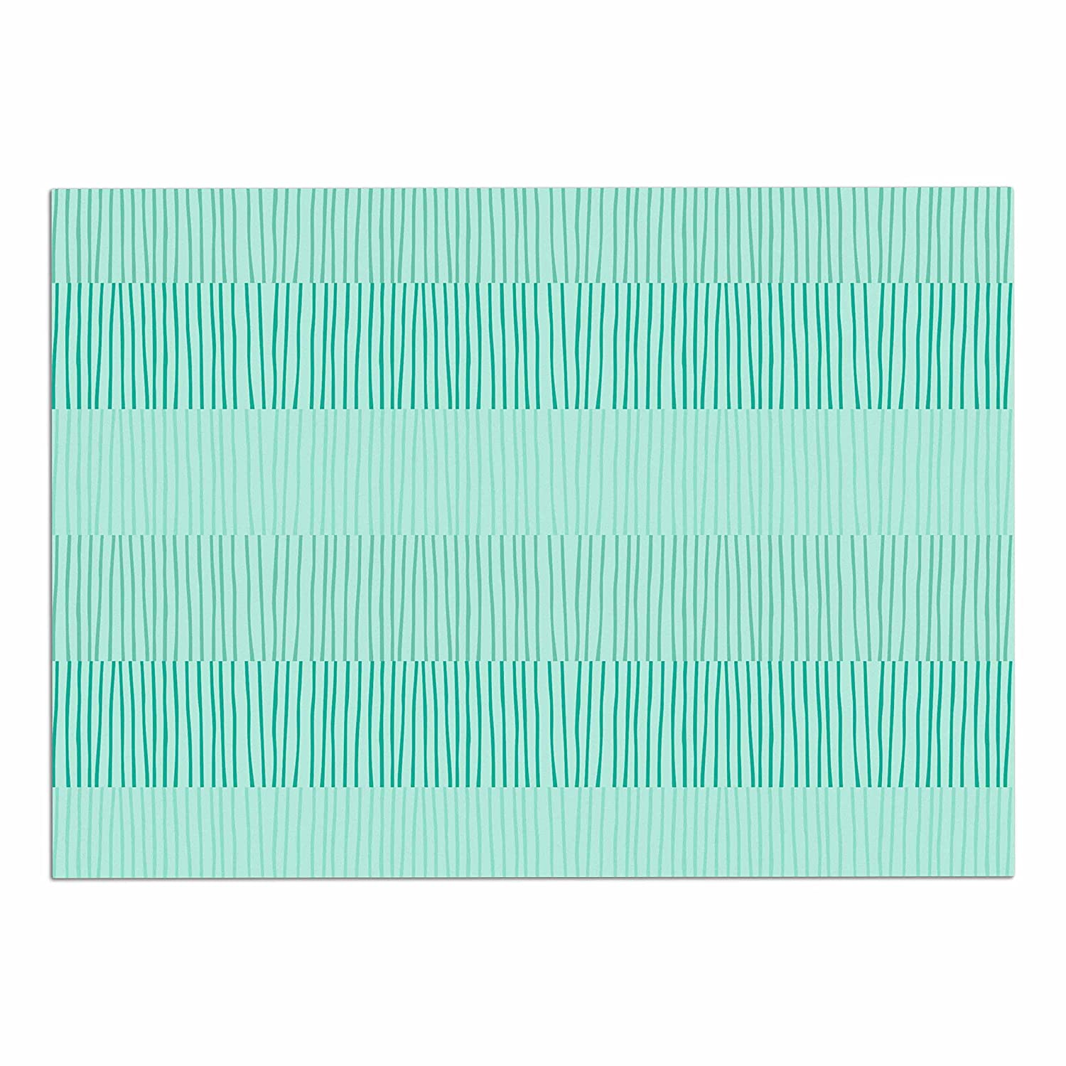 KESS InHouse Holly Helgeson Mod Grass  Teal Lines Dog Place Mat, 13  x 18