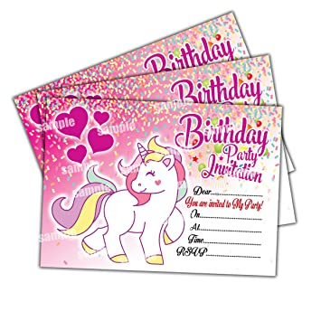20 X Unicorn Kids Childrens Birthday Party Invitations Invites Cards Girls Amazoncouk Toys Games