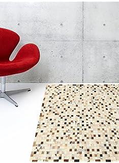FuhrHome Teppich Leder Braun 120 x 180 x 1 cm