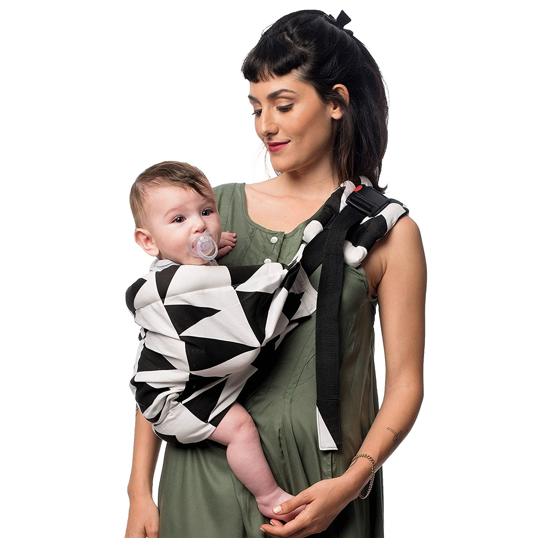 SimplyGood Snuggly Sling Baby Tragegurt Tragetuch Babytrage Bauchtrage (Geo Love Schwarz auf weiß ) simply Good