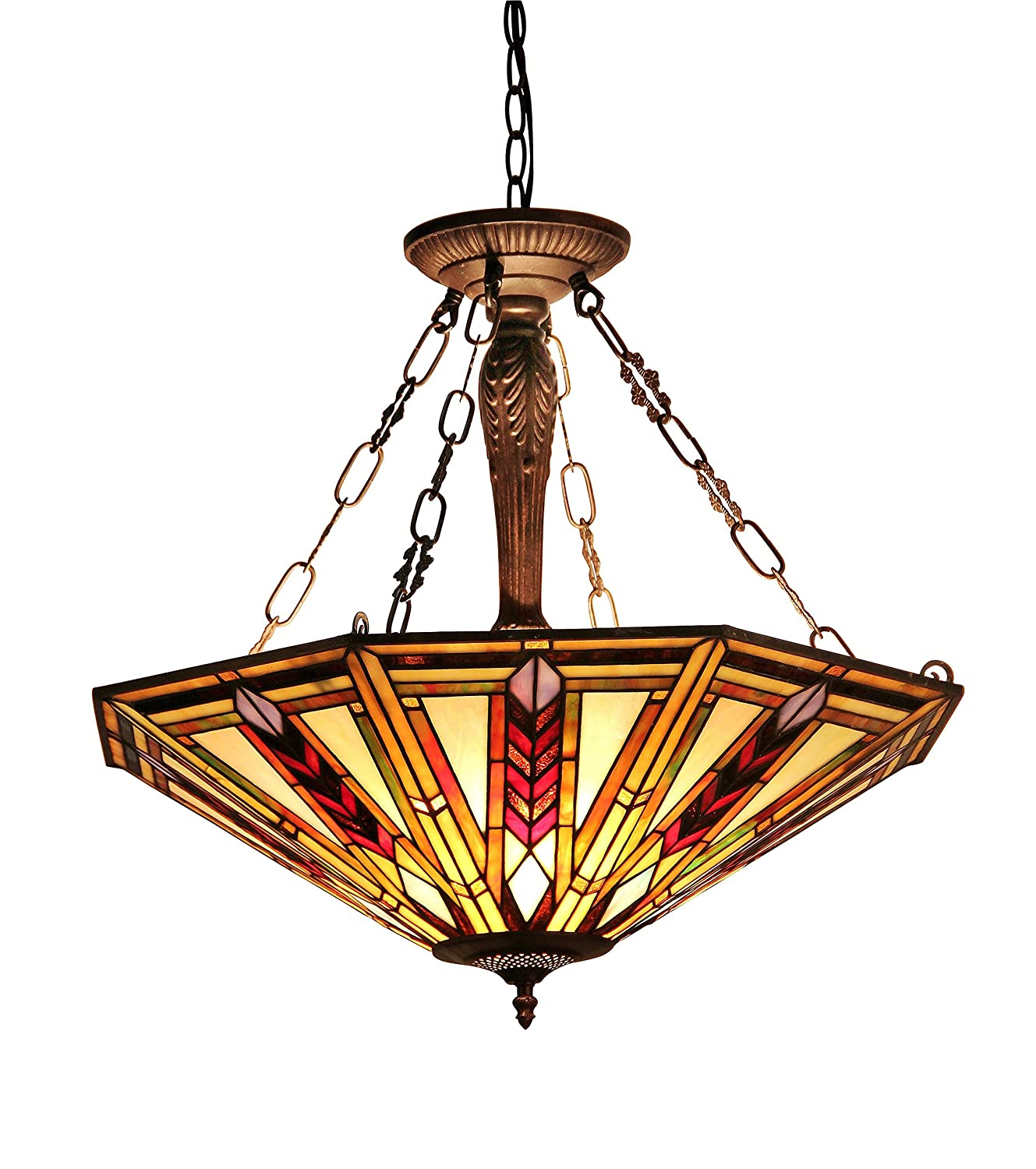 Chloe Lighting CH35001RM25-UH3 Moasic Jayden, Tiffany-style Mission 3 Light Inverted Ceiling Pendant Fixture 25-Inch Shade,Multi-colored