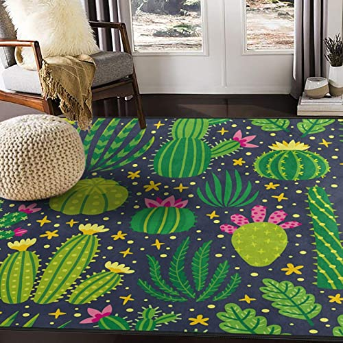 ALAZA Cartoon Cactus Flower Area Rug Rugs for Living Room Bedroom 5 3 x4