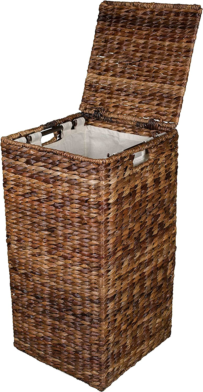 BIRDROCK HOME Seagrass Laundry Hamper - Hand Woven - Renewable - Long Lasting (Square Abaca Hamper)