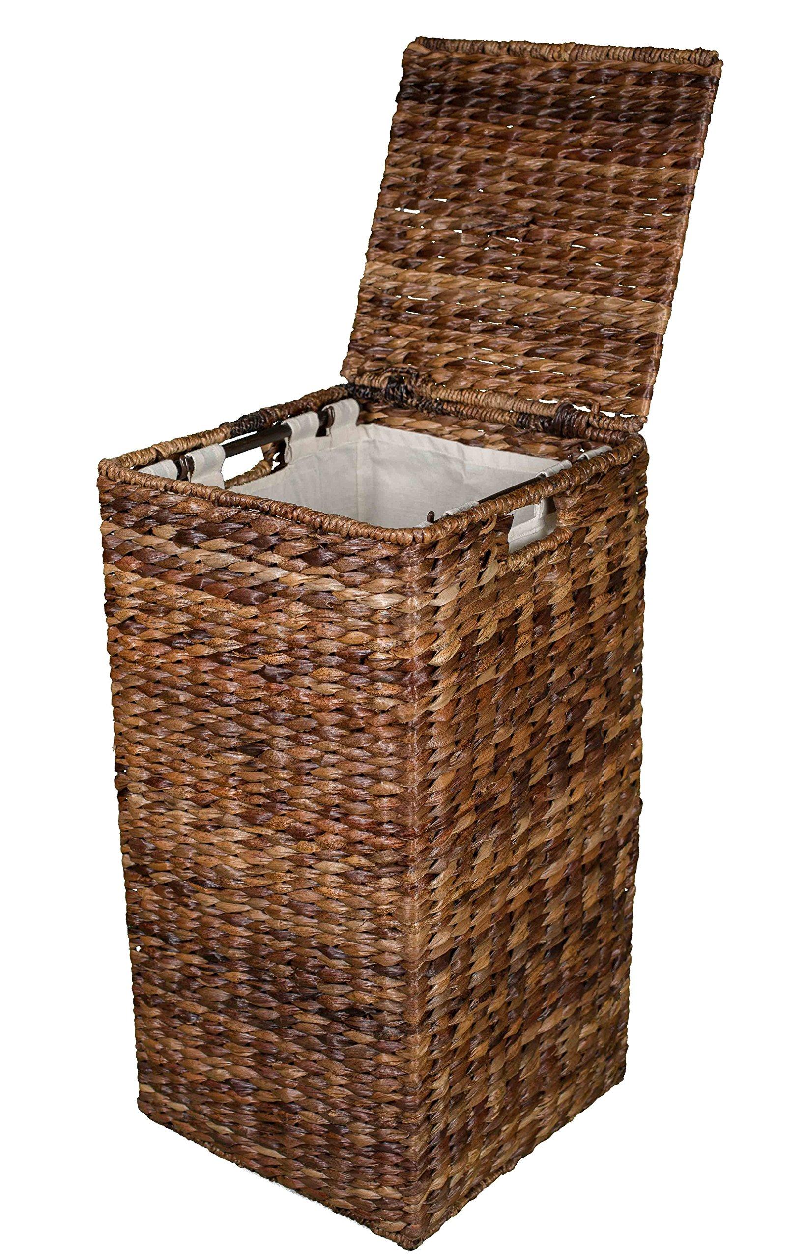 Birdrock Home Seagrass Laundry Hamper | Hand Woven | Renewable | Long Lasting (Square Abaca Hamper)
