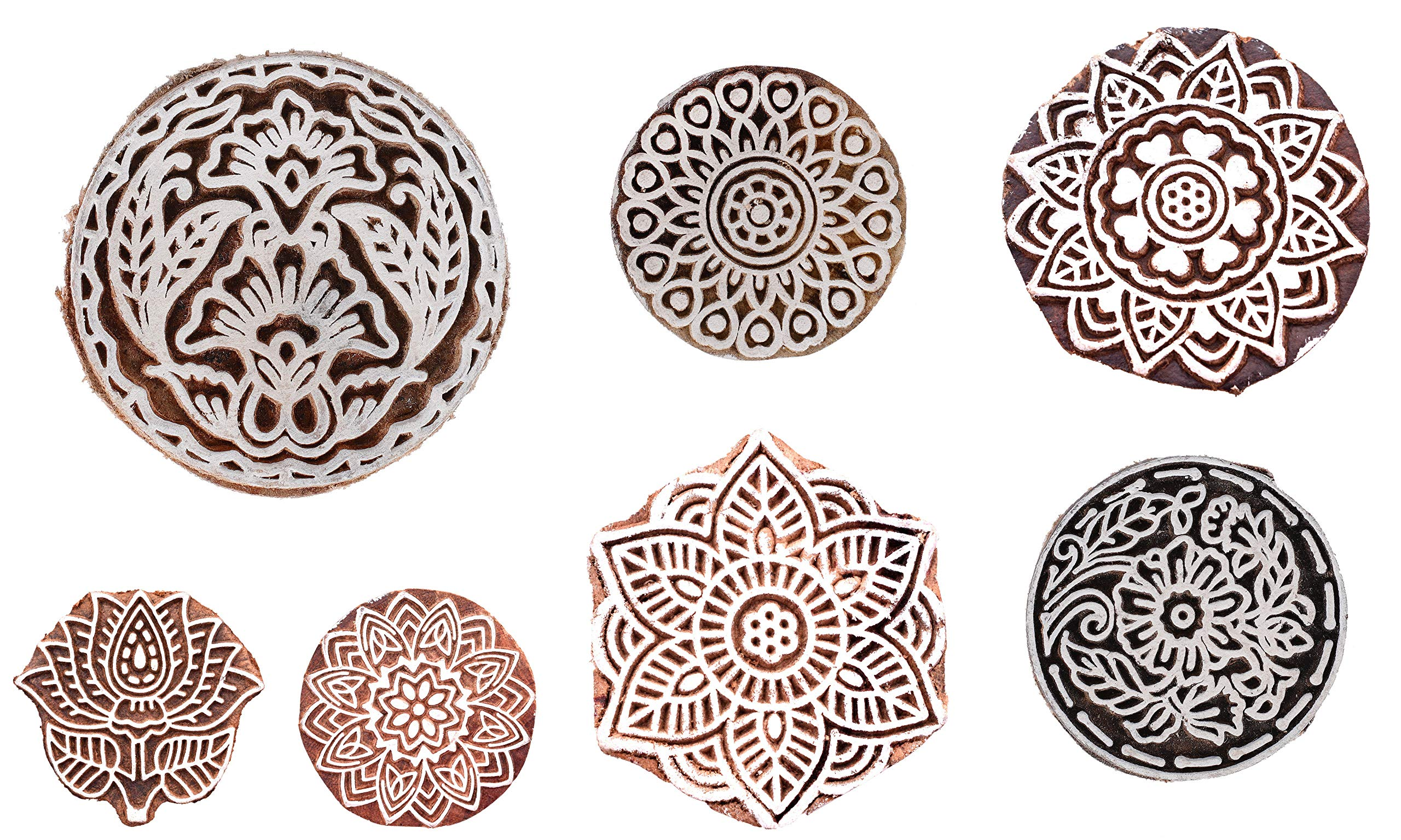 Handicraft-Palace Floral Wooden Blocks Indian Hand Carved Printed Stamps Textile Hand Painting Round Wood Block (10 pc Set)