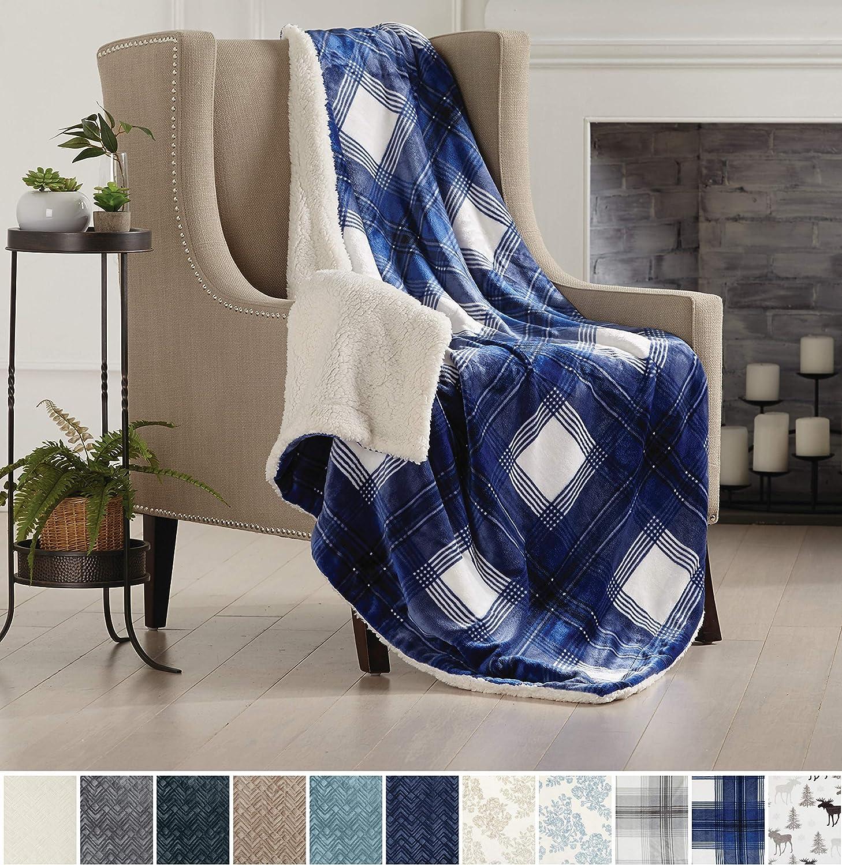Fuzzy Twin Buffalo Check Navy Warm Berber Fleece Bed Blanket Home Fashion Designs Premium Reversible Sherpa And Fleece Velvet Plush Blanket Soft Bed Blankets