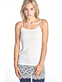 Pure Style Girlfriends Women's Extra Long Lace Camisole Shirt Extender Regular and Plus Sizes