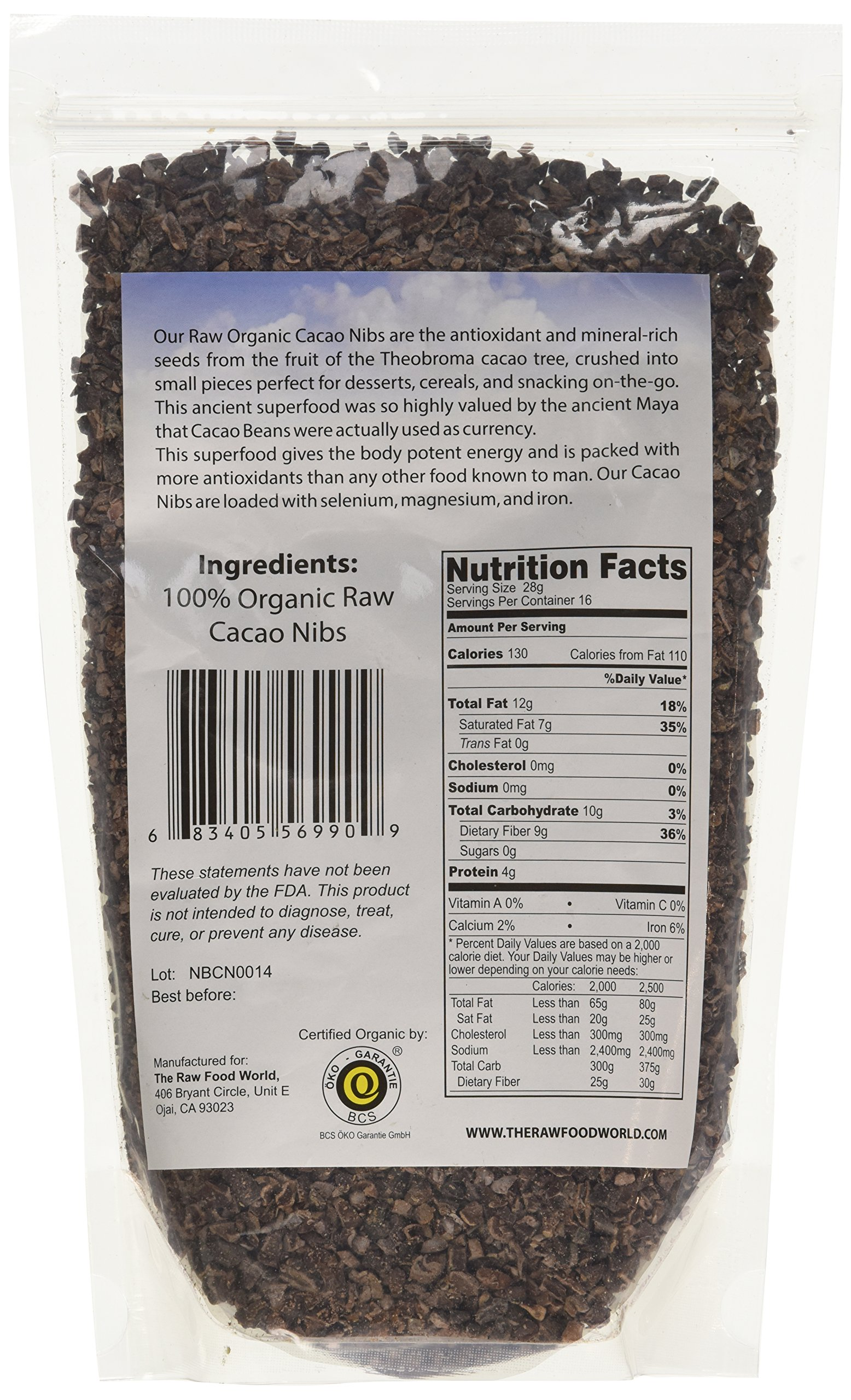 Raw Organic Cacao Nibs, 16oz, The Raw Food World