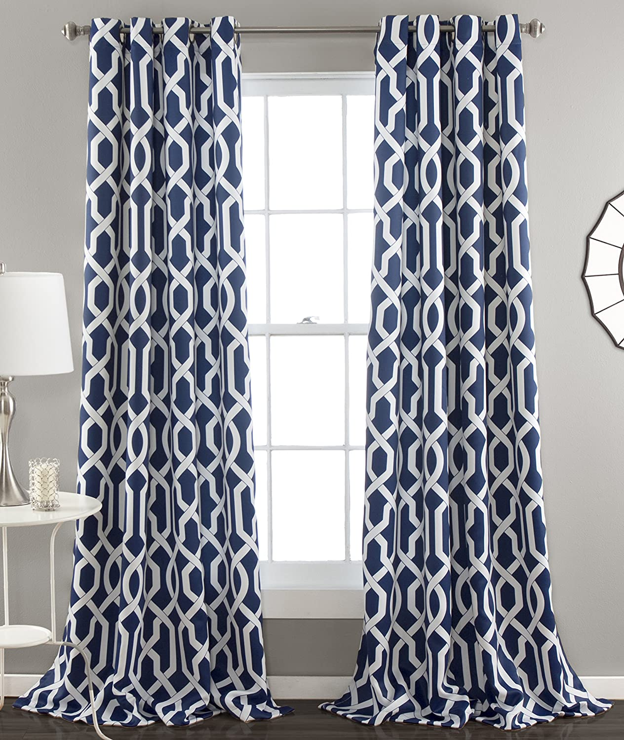 "Lush Decor Edward Trellis Darkening Window Curtains Panel Set for Living, Dining Room, Bedroom (Pair), 84"" L, Navy"