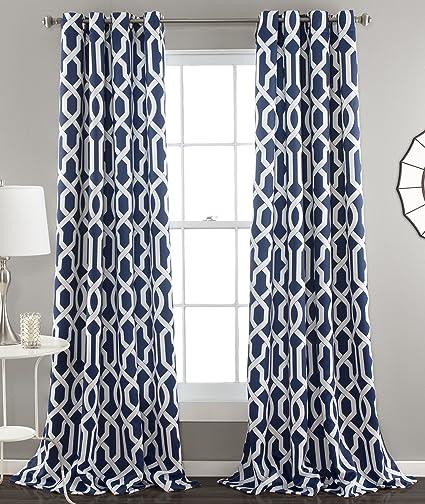 Lush Decor Edward Trellis Room Darkening Window Curtain Panel Pair 84 Inch X 52
