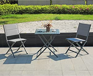 Soleil Jardin Foldable Bistro Set 3-Piece Patio Dining Furniture Set, All-Weather Aluminum Table and Sling Padded Chairs, Indoor Outdoor Space-Saving Porch Furniture