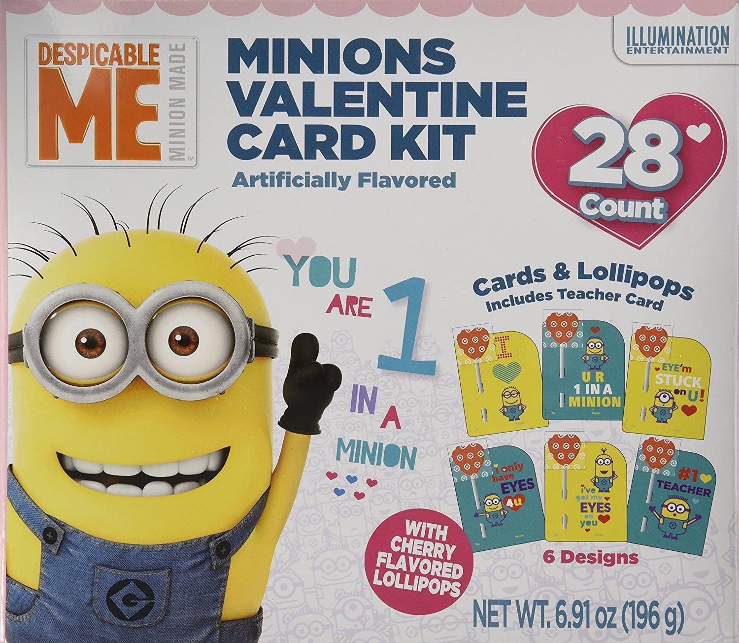 Amazon.com : 28 Despicable Me Minion Made Valentine Card Kit With Cherry  Candy Lollipops : Grocery U0026 Gourmet Food