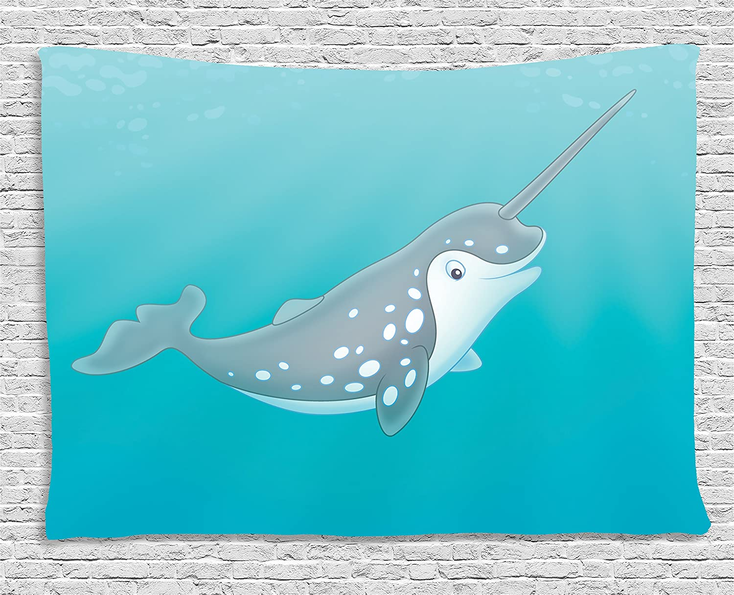 Amazon Com Ambesonne Narwhal Tapestry Cartoon Style Drawing Of An