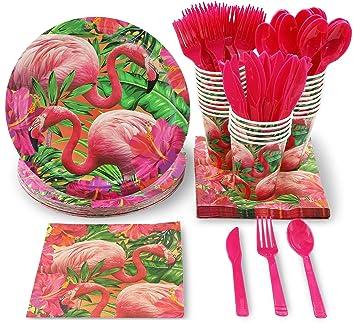 Vajilla desechable – sirve 24 – Suministros para fiestas tropicales para cumpleaños, diseños de flamencos – incluye cuchillos de plástico, cucharas, ...