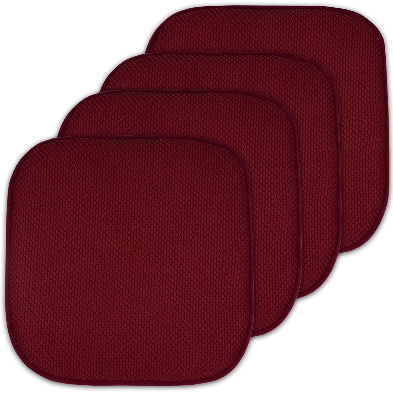 "4 Pack Memory Foam Honeycomb Nonslip Back 16"" x16"" Chair/Seat Cushion Pad"