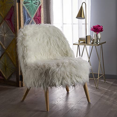 Christopher Knight Home Cheryiie Faux Fur Accent Chair, White Natural