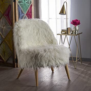 Soho Glam White Faux Fur Chair   Shaggy Faux Fur Accent Chair   Faux Sheepskin  Chair