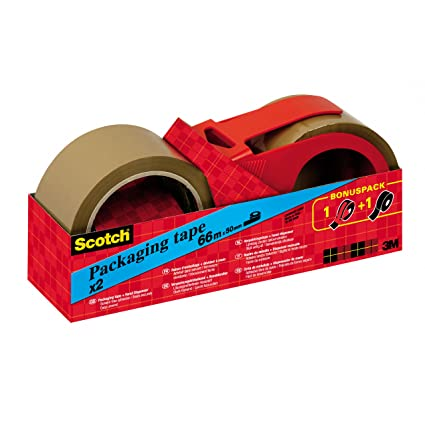 Scotch Parcel Tape in Hand Roller 2 x Rolls of 66 m x 50 mm Brown