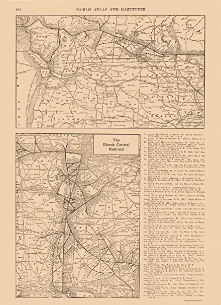 Amazon.com: MAPS OF THE PAST Transportation Map - Illinois Central ...