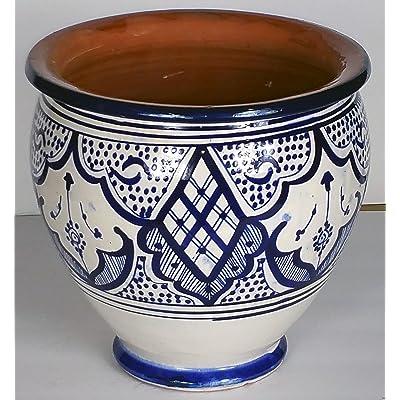 Moroccan Spanish Ceramic Flower Pot Garden Drain Hole Terracotta Planter Plant: Garden & Outdoor