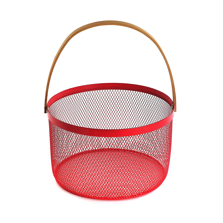 Versa 15615822 Frutero redondo cesta beige con asa de madera Steel