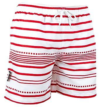 62d29d828484c9 Luvanni Herren Badeshorts Beachshorts Boardshorts Badehose Schwimmhose  Männer gestreift Streifen Streifenmuster Farbe Weiss Rot M