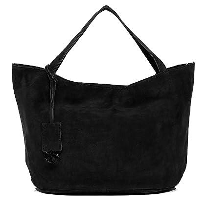 1542c91e422f BACCINI Real Suede Leather top-Handle Tote Bag Selma Large Shoulder Bag  Handbag Leather Bag Women´s Bag Black