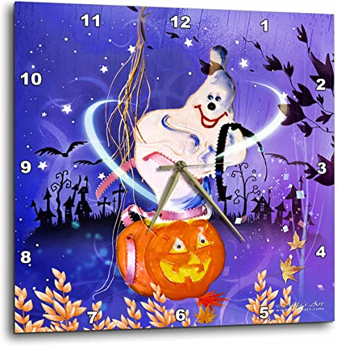 3dRose Mila s Art Halloween Ghost and Pumpkin Wall Clock, 10 by 10-Inch