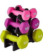 AmazonBasics Juego de pesas con soporte, 9.1 kg (20 lb), letras blancas