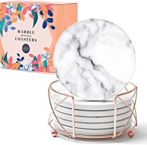 BlyssDecor Marble Coasters for Drinks with Free Ebook White Marble Coaster Set Drink Coasters with Holder Water Absorbing Coasters White Marble Coasters Marble Coasters with Holder White Coasters