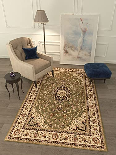 Persian Classic Green 7 10 x 9 10 Area Rug Oriental Floral Motif Detailed Classic Pattern Antique Living Dining Room Bedroom Hallway Office Carpet Easy Clean Traditional Soft Plush Quality