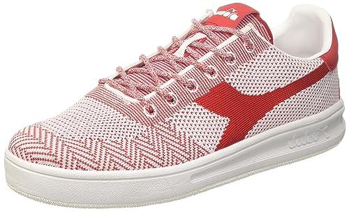 Diadora B.Elite Weave, Sneaker Uomo, Bianco (Bianco Bianco Rosso), 43 EU