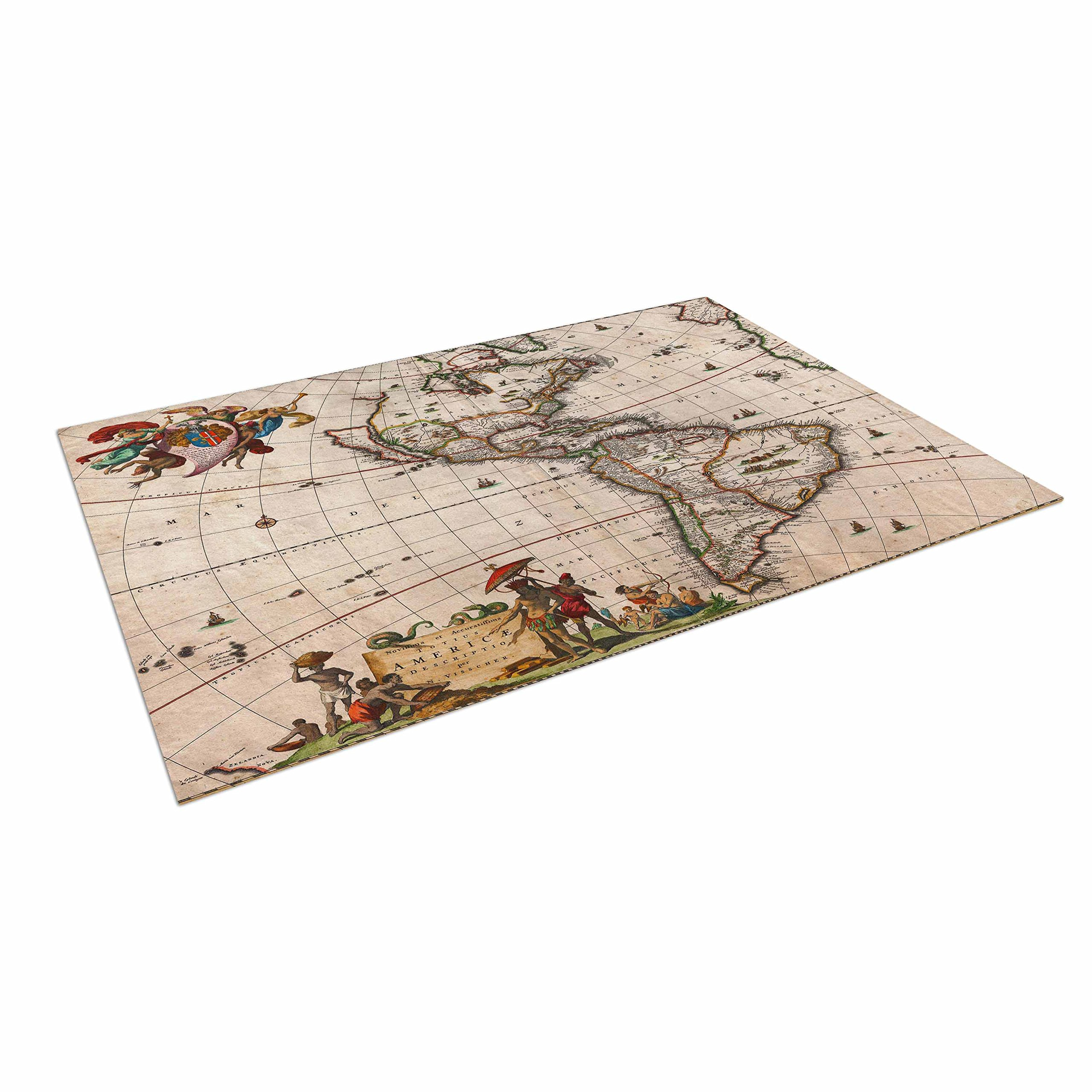 KESS InHouse Bruce Stanfield ''Vintage Map of The America's '' Brown Green Outdoor Floor Mat, 4' x 5'