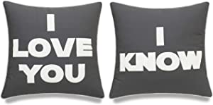 EURASIA DECOR I Love You I Know Set of 2 pcs Embroidered Decorative Square Accent Throw Pillow Cover - for Couple, Bedroom, Wedding Gift