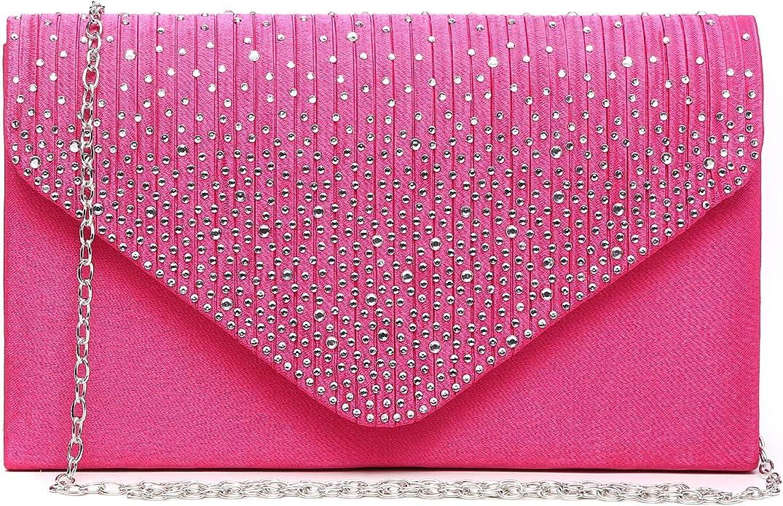 Women's Evening Bag Envelope Rhinestone Party Prom Clutch Handbag Wedding Purse Shoulder Bag