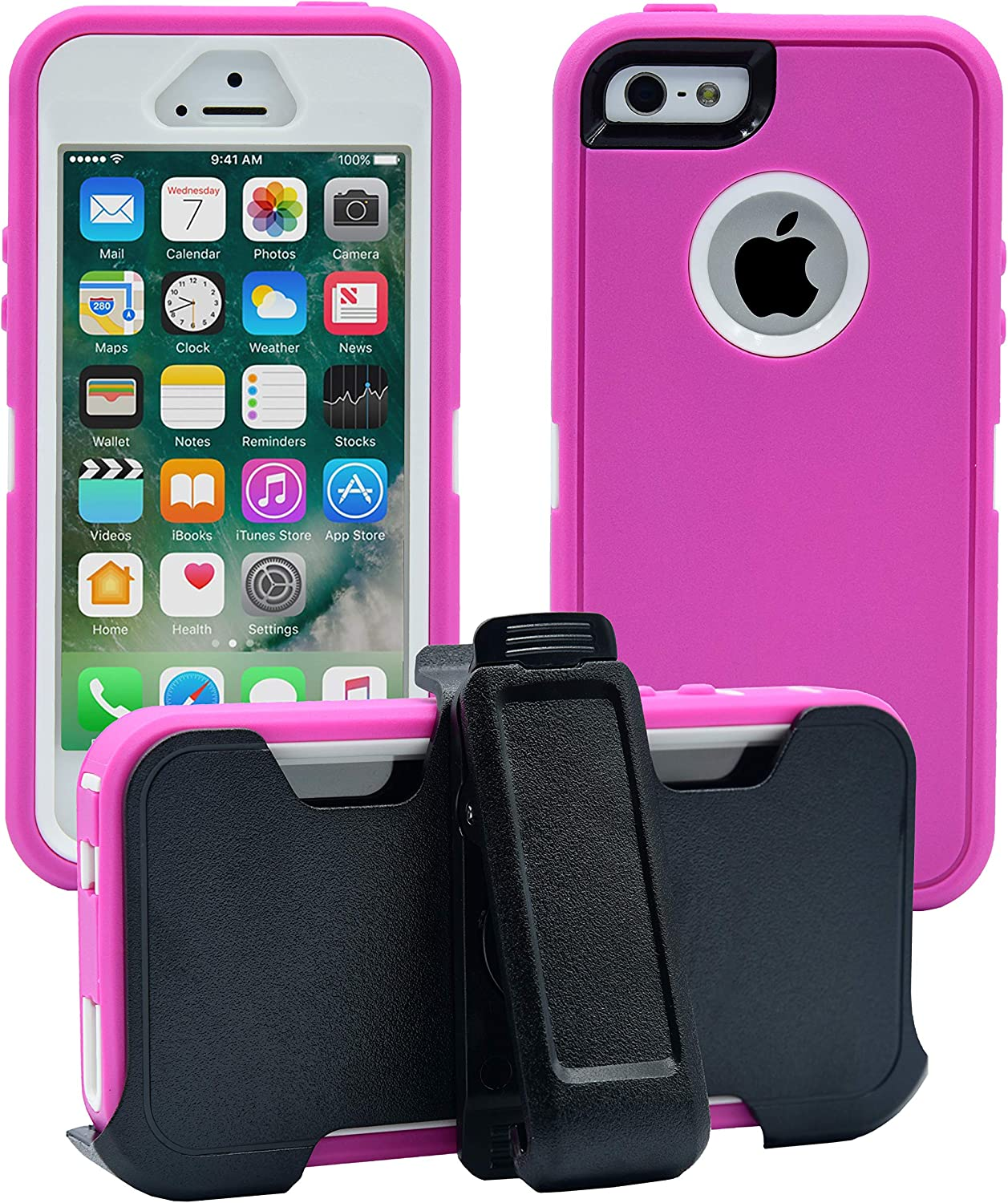AlphaCell Cover Compatible with iPhone 5 / 5S / SE (2016)| 2-in-1 Screen Protector & Holster Case | Full Body Military Grade Protection with Carrying Belt Clip | Protective Drop-Proof Shock-Proof