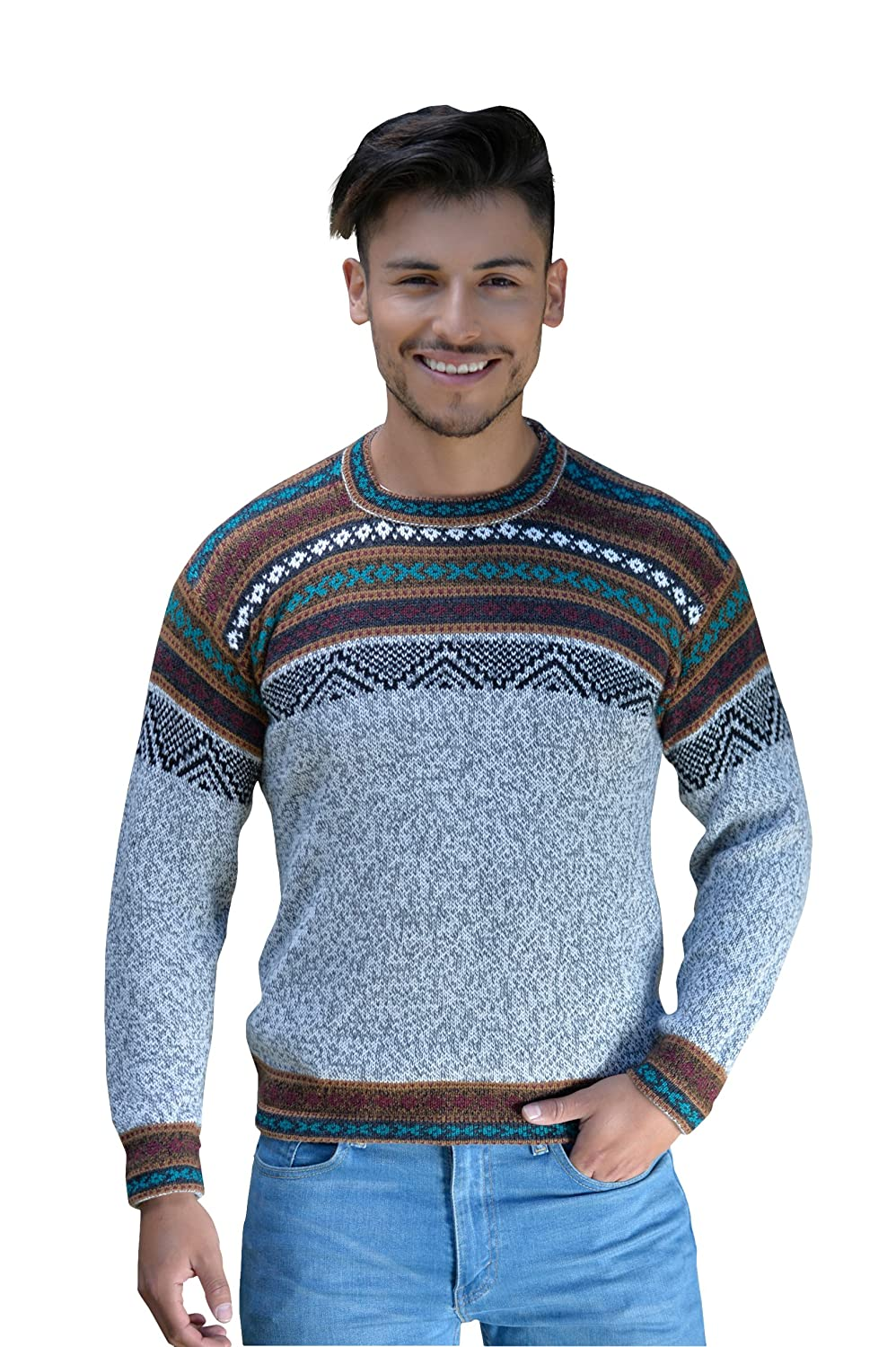c2006ec66df739 Gamboa - Hand Knitted Alpaca Sweater for Men - Light Grey with Earth Tones  at Amazon Men's Clothing store: