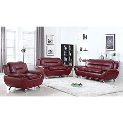 US Furnishing Express Alice Faux Leather Modern Living Room Set  3 Piece Red
