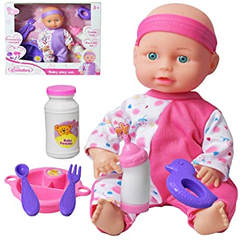 10 Baby Doll Play Set With Feeding Milk Bottle And Accessories
