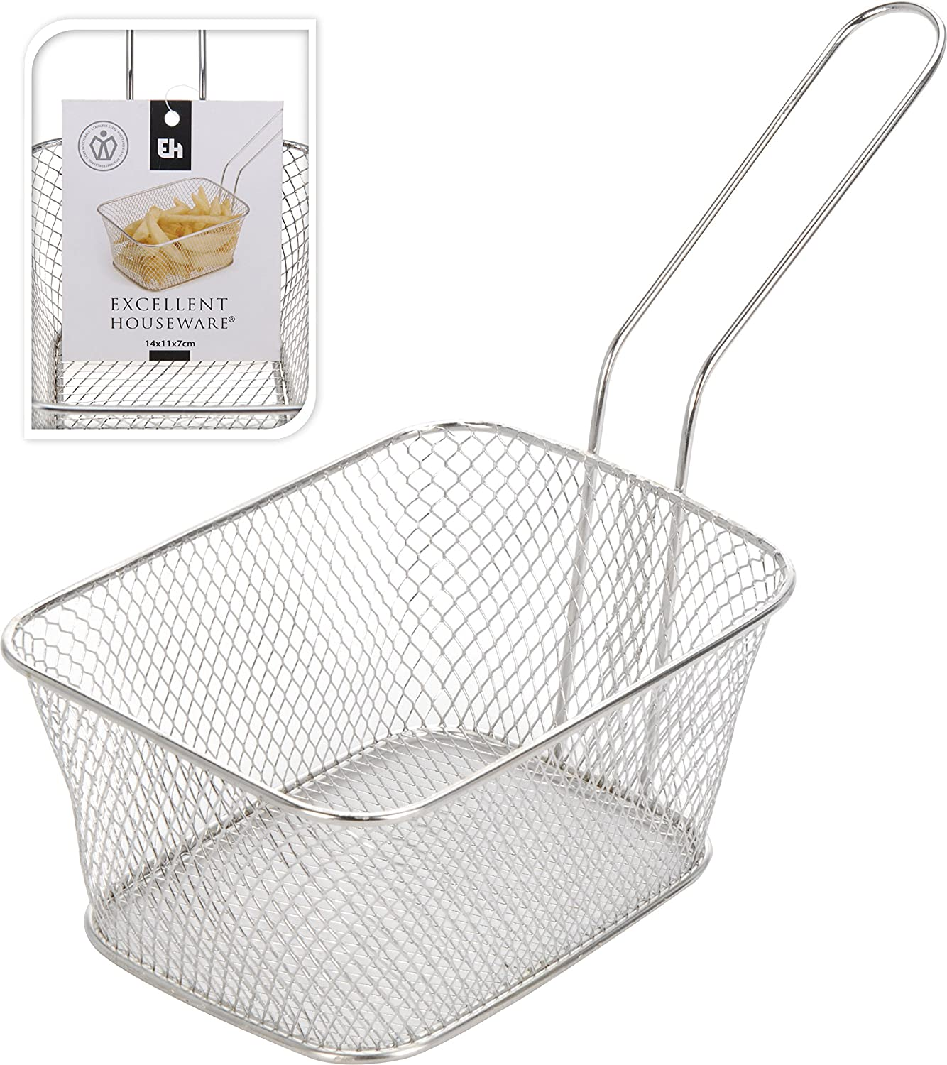 Mini Chip Serving Basket Stainless Steel Mini Chrome Fryer Chip Food Basket New 4 Pack (4) Koopman