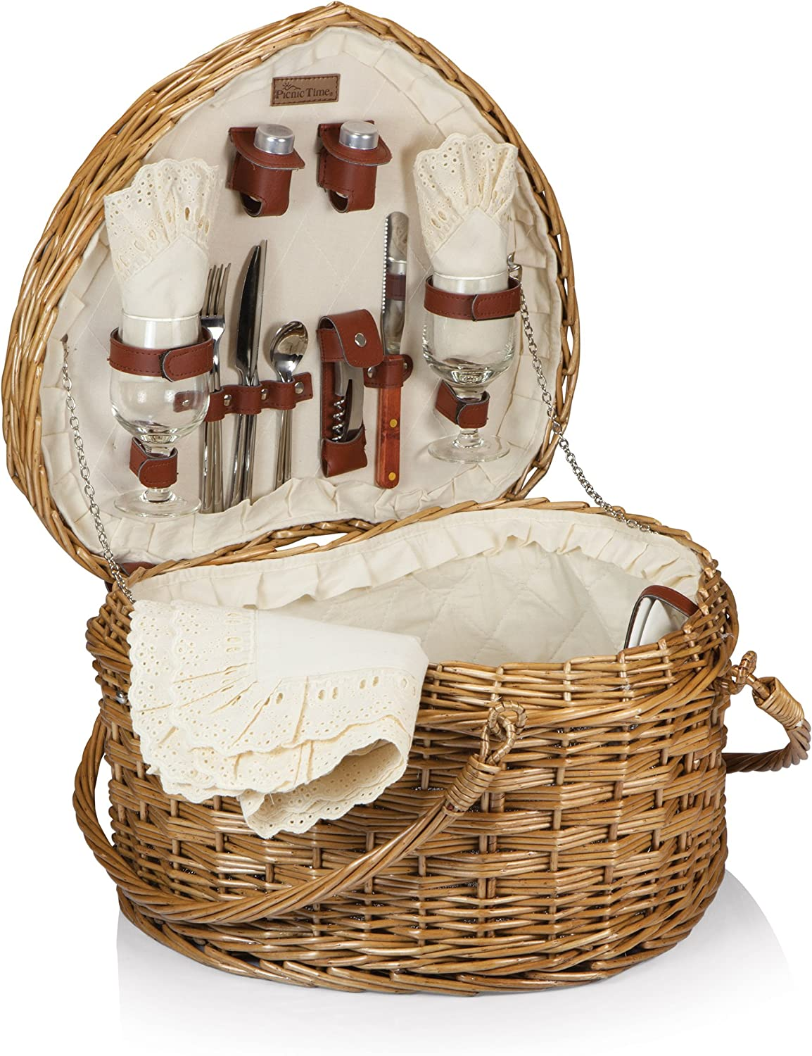 Amazon Com Picnic Time Heart Willow Picnic Basket With Deluxe Service For Two Kitchen Dining