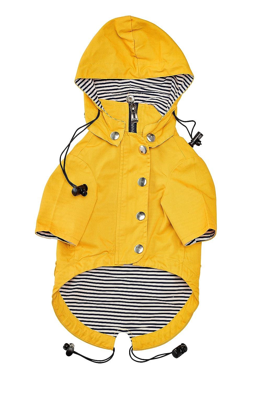 Gelber modischer Regenmantel mit Reißverschluss für Hunde mit reflektierenden Knöpfen, Taschen, regen-/wasserfest, verstellbare Zugbänder und abnehmbare Kapuze, Größe XS bis XL von Ellie Dog Wear ELD-r004