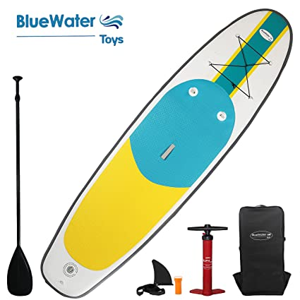 Blue Water Toys 11 Premium Inflatable Stand Up Paddle Board | Extra Wide 34-Inch-Wide Stance Width | Complete SUP Travel Kit | 6 Inches Thick | Youth ...
