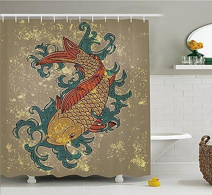 Amazon.com: Ambesonne Japanese Decor Shower Curtain Set By, Grunge ...